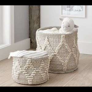 Metallic woven wool toy storage from Potterybarn